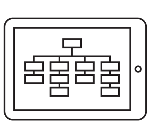 data model on a tablet computer, drawing