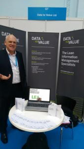Nigel Higgs at Data to Value stall, London Info International